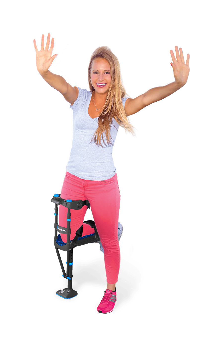 female using iwalk3 hands free crutch with an aircast boot