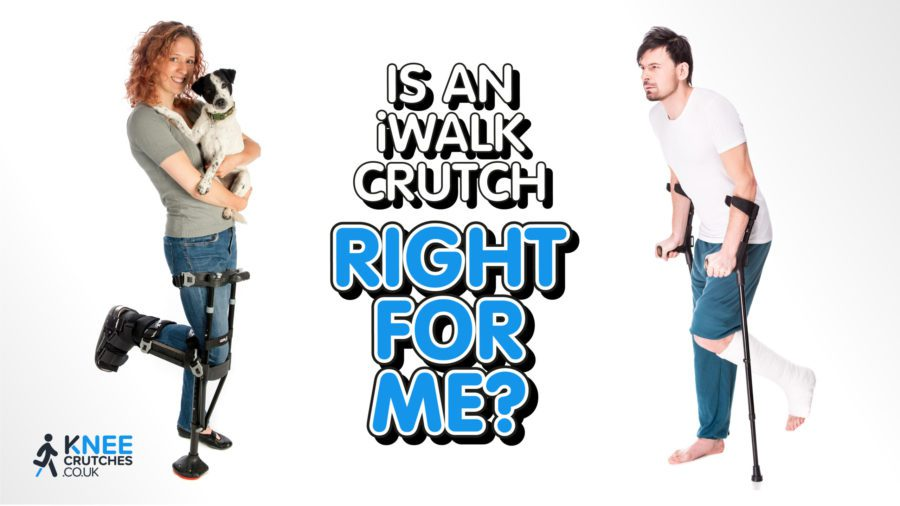 title slide with woman using iwalk crutch and man using conventional crutches