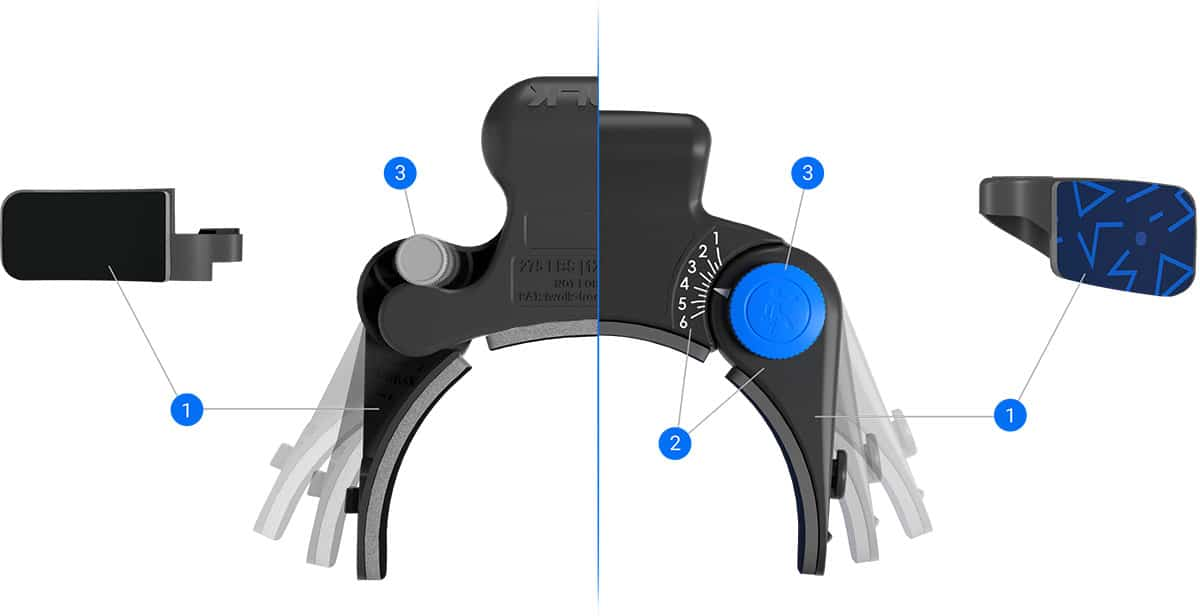 Top view comparing the upper assembly of the iWALK2.0 vs iWALK3.0